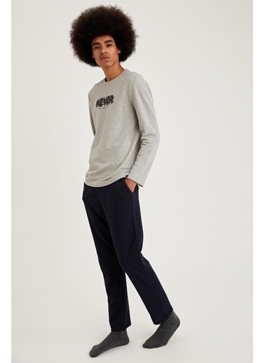 Defacto –Fit Never Baskılı Regular Fit Pijama Takım Gri